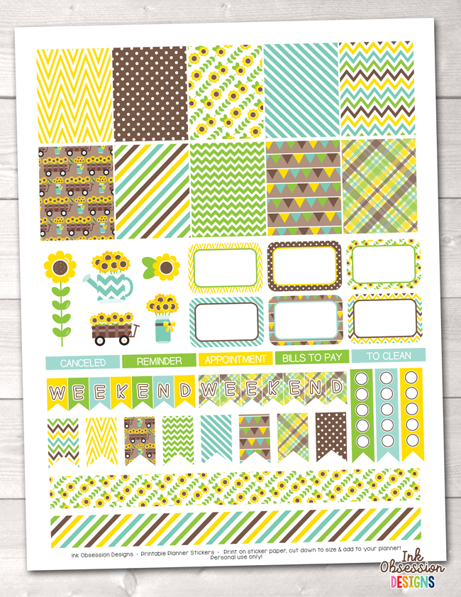 Sunflowers Printable Planner Stickers Weekly Kit