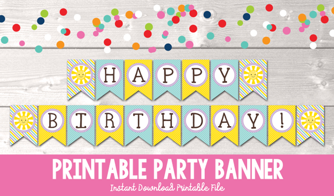 image relating to Printable Design known as Blue Sun Satisfied Birthday Printable Bash Banner
