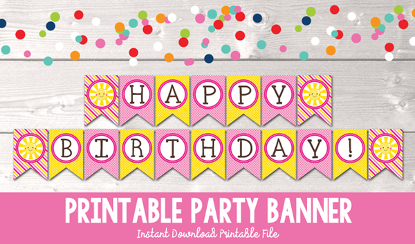 Girls Pink Sunshine Happy Birthday Printable Party Banner
