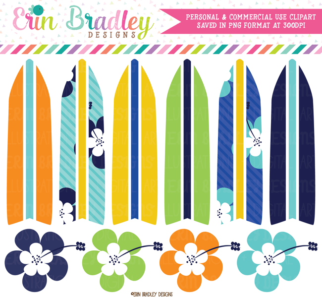 Boys Surfboard Clipart | Commercial Use Graphics
