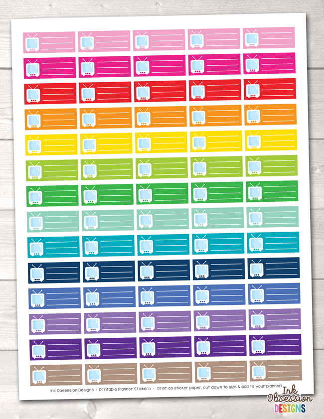 TV Schedule Printable Planner Stickers
