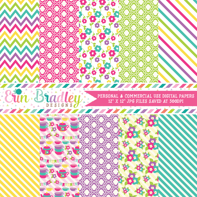 Tea Party Digital Papers