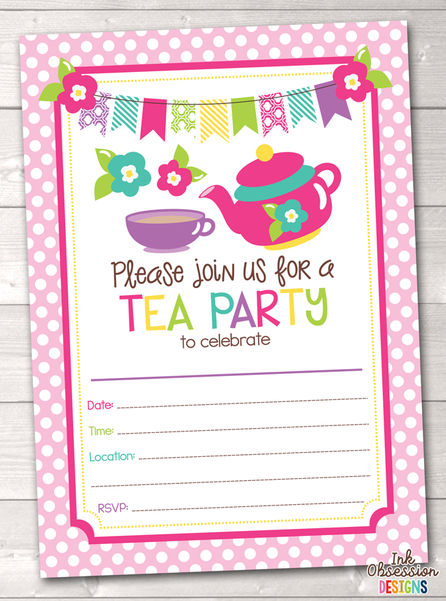tea party printable birthday party invitation erin bradley ink