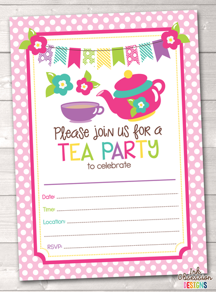 Tea Party Printable Birthday Party Invitation
