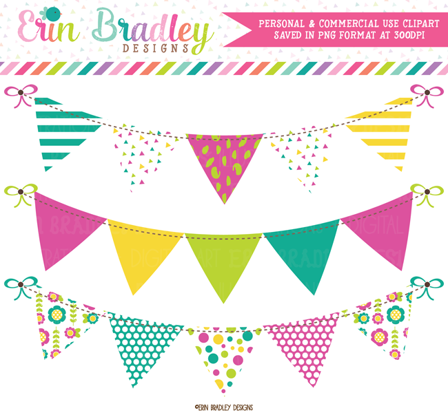Teal Magenta Green Yellow Banner Flag Clipart