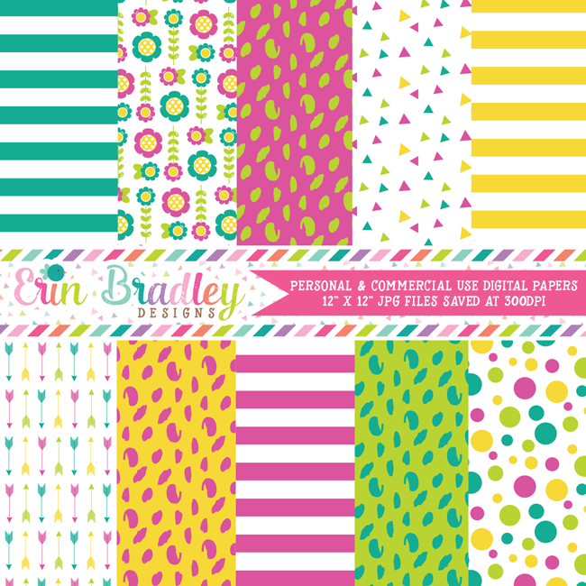 Teal Magenta Yellow and Green Digital Paper Pack