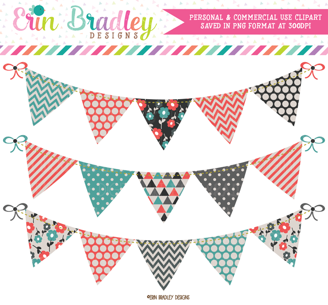 Teal Orange Red and Charcoal Bunting Clipart