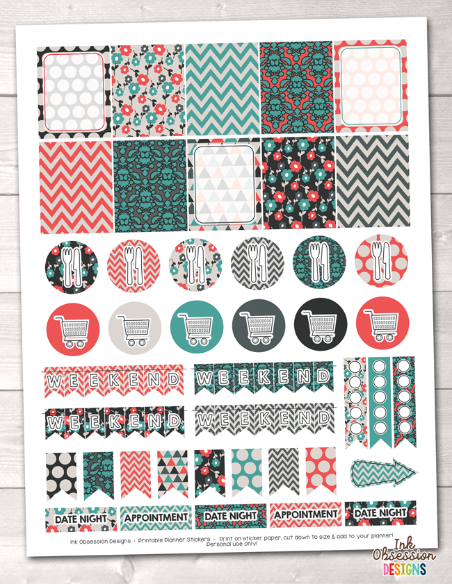 Teal Orange Red Printable Planner Stickers Weekly Kit