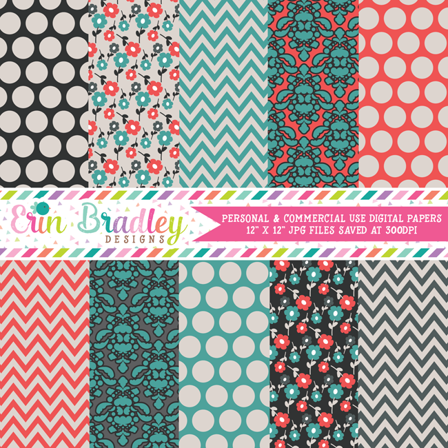 Teal and Orange Red Digital Paper Pack