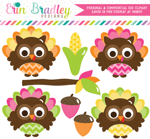 Commercial Use Thanksgiving Owls Clipart