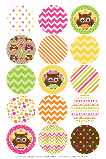 Thanksgiving Owls Digital Bottle Cap Images