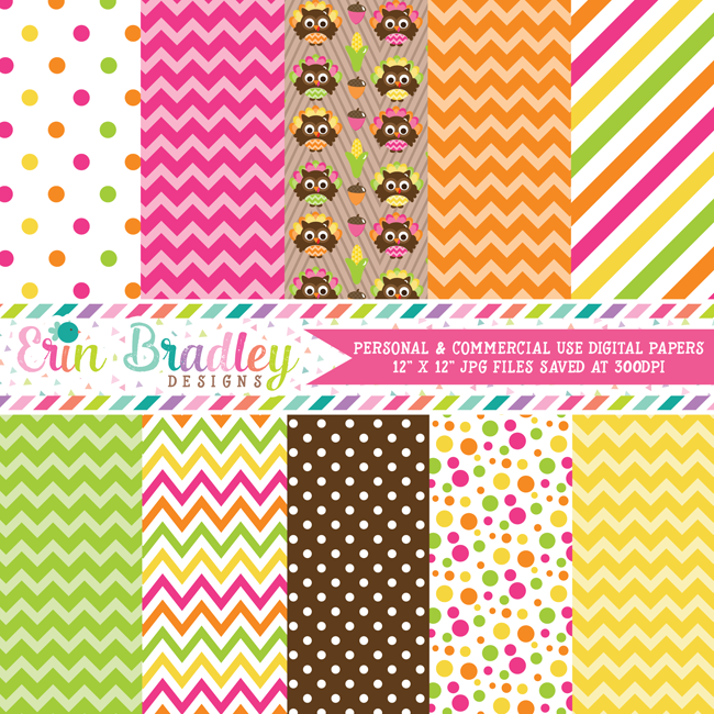 Thanksgiving Owls Digital Papers