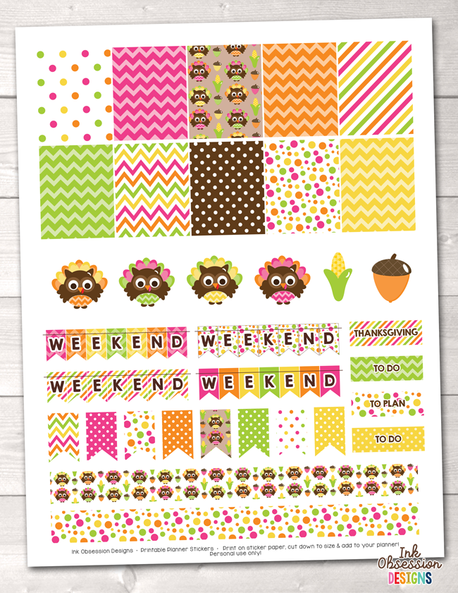 Thanksgiving Owls Printable Planner Stickers Weekly Kit