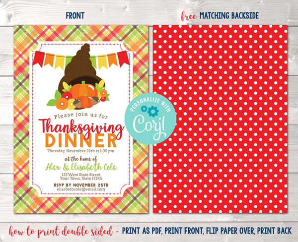 Editable Thanksgiving Dinner Party Invitation Instant Download Digital File