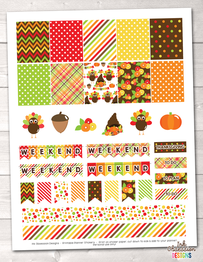 Thanksgiving Printable Planner Stickers Weekly Kit Instant Download PDF