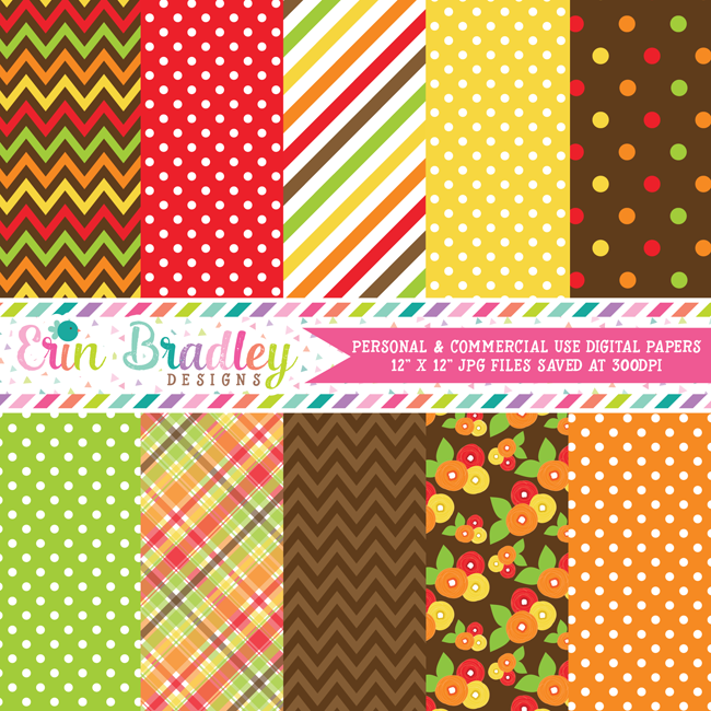 Thanksgiving Turkeys Digital Papers