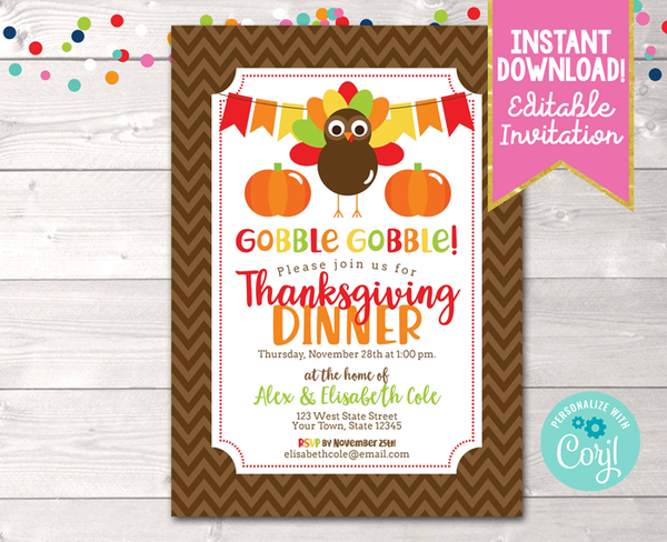 Editable Gobble Gobble Thanksgiving Party Invitation Instant Download Digital File