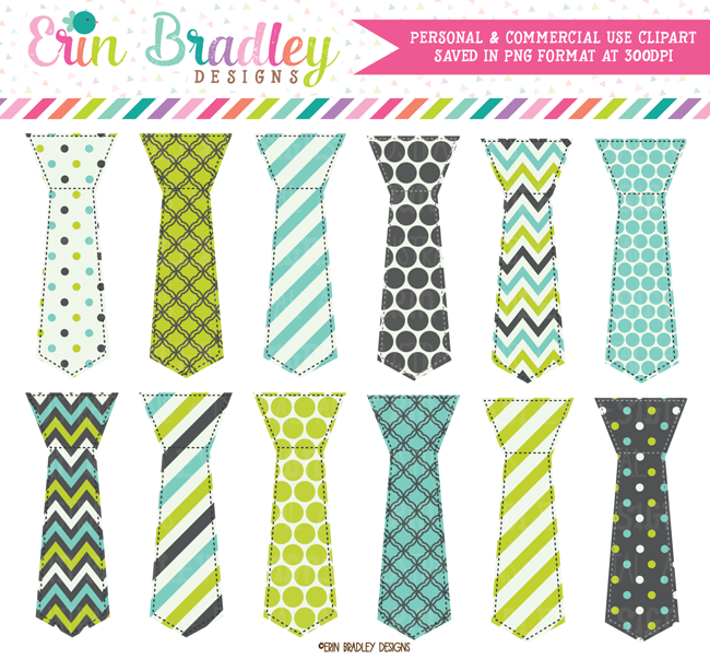 Lime Aqua and Charcoal Gray Ties Clipart