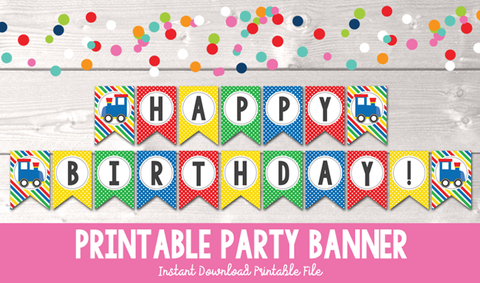 Boys Train Happy Birthday Printable Party Banner
