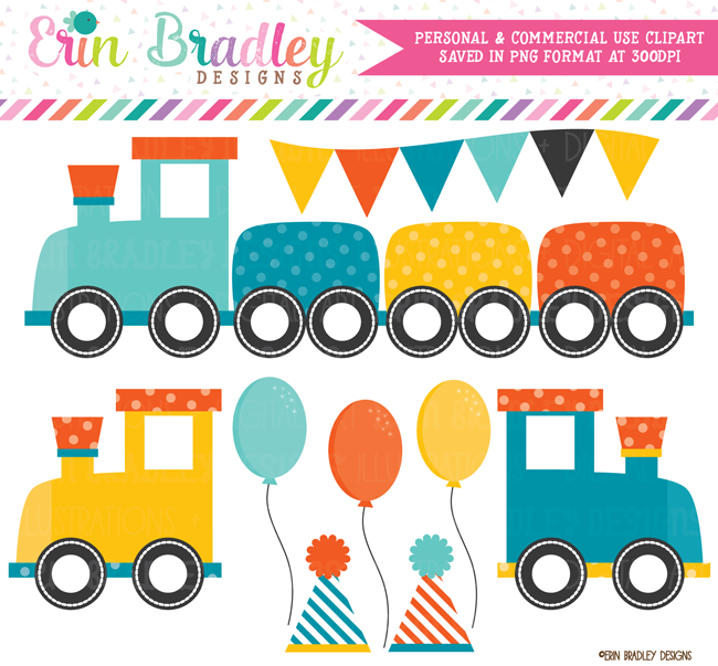 Boys Birthday Party Train Clipart