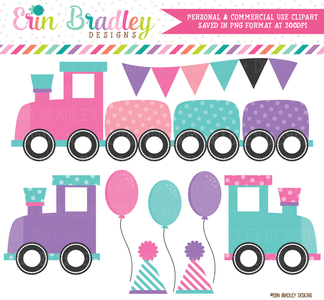 Girls Train Party Clipart Graphics