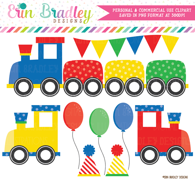 Train Clipart Primary Colors