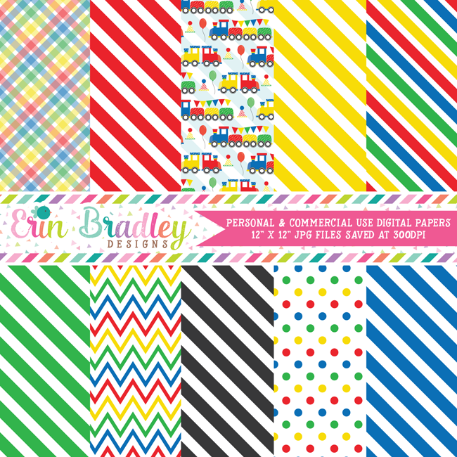 Train Primary Colors Digital Paper Pack