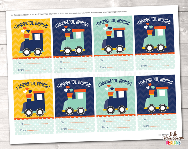 Choo Choo Train Printable Valentines Day Cards