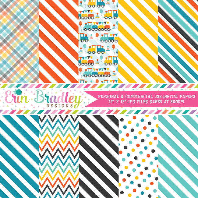 Boys Train Digital Paper Pack
