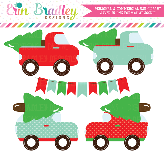 Christmas Tree Transportation Clipart