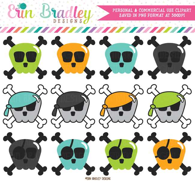 Boys Skulls and Crossbones Clipart