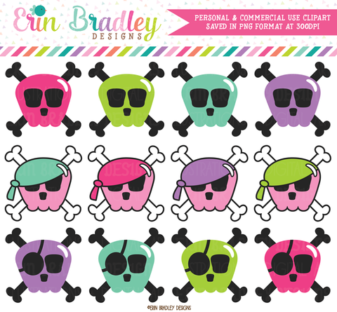 Girly Skulls and Crossbones Clipart