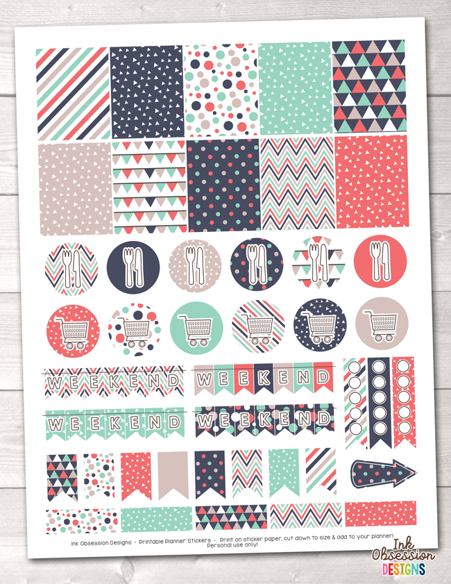 Triangle Collection Printable Planner Stickers Weekly Kit