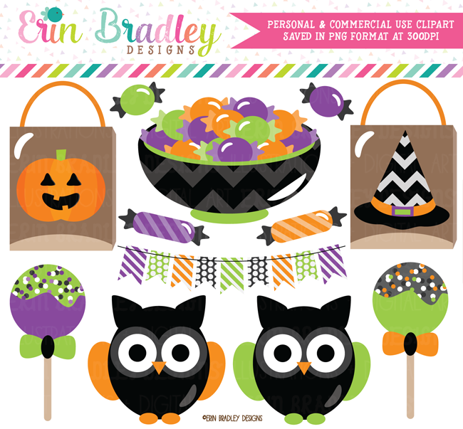 Halloween Trick or Treat Owls Clipart