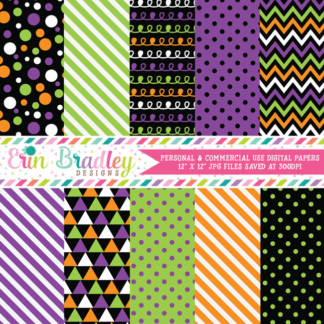 Trick or Treat Halloween Digital Paper Pack