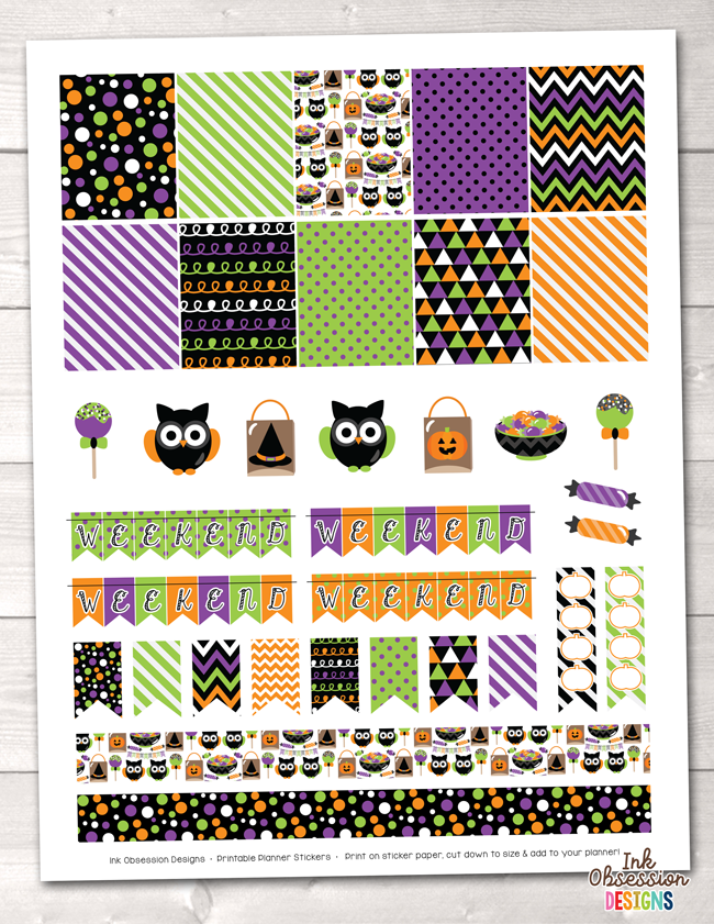 Trick or Treat Halloween Printable Planner Stickers Instant Download PDF