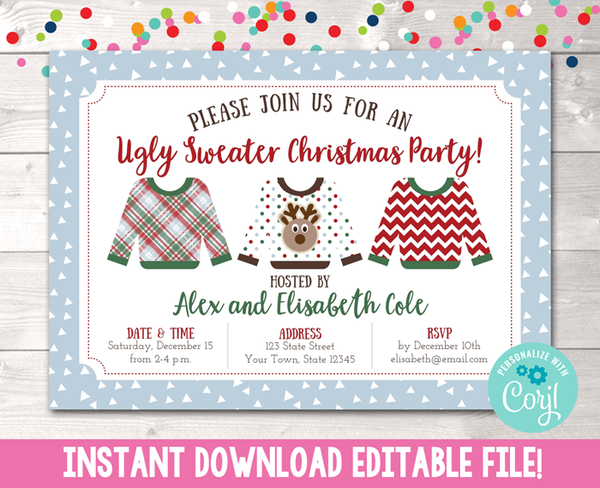 Editable Ugly Sweater Party Christmas Party Invitation Instant Download Digital File