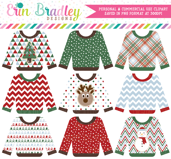 Ugly Sweater Party Clipart Commercial Use OK