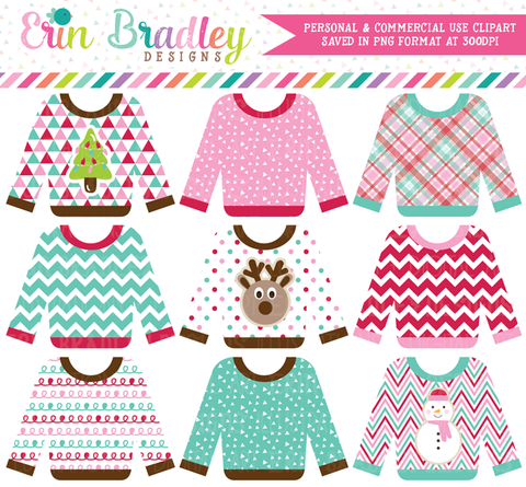 Ugly Sweater Party Pink Clipart