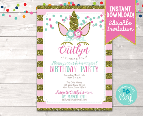 Editable Unicorn Birthday Party Invitation in Pink Instant Download Digital File