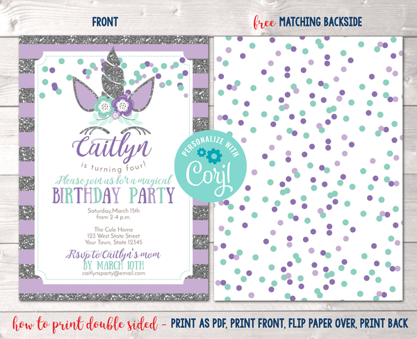 Editable Unicorn Birthday Party Invitation in Purple Instant Download Digital File