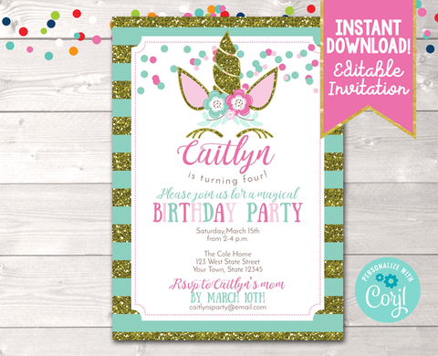 Editable Unicorn Birthday Party Invitation in Blue Instant Download Digital File