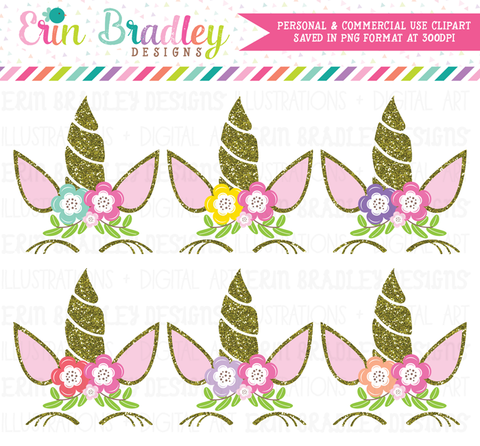 Unicorn Gold Glitter Clipart