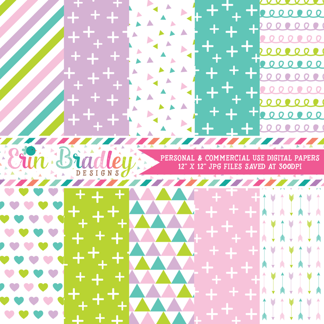Unicorn Kisses Digital Paper Pack