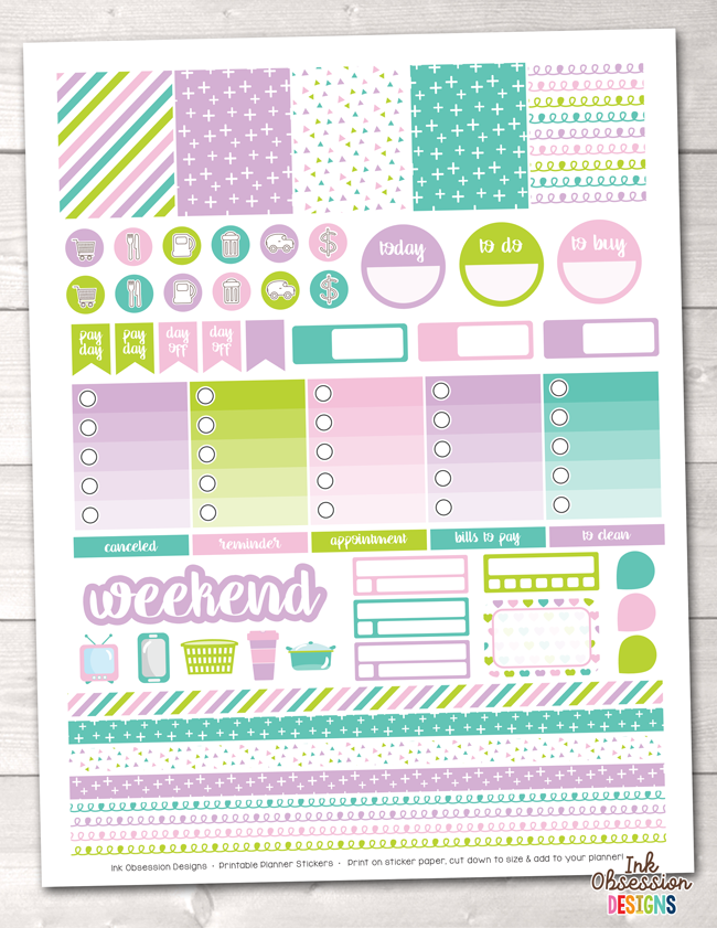 Unicorn Kisses Printable Planner Stickers Weekly Kit