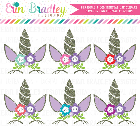 Unicorn Purple Glitter Clipart