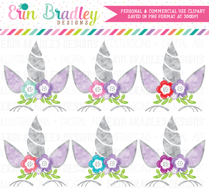Unicorn Purple Watercolor Clipart
