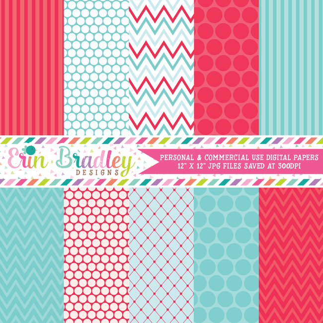 Summer Days Blue Red Digital Paper Pack