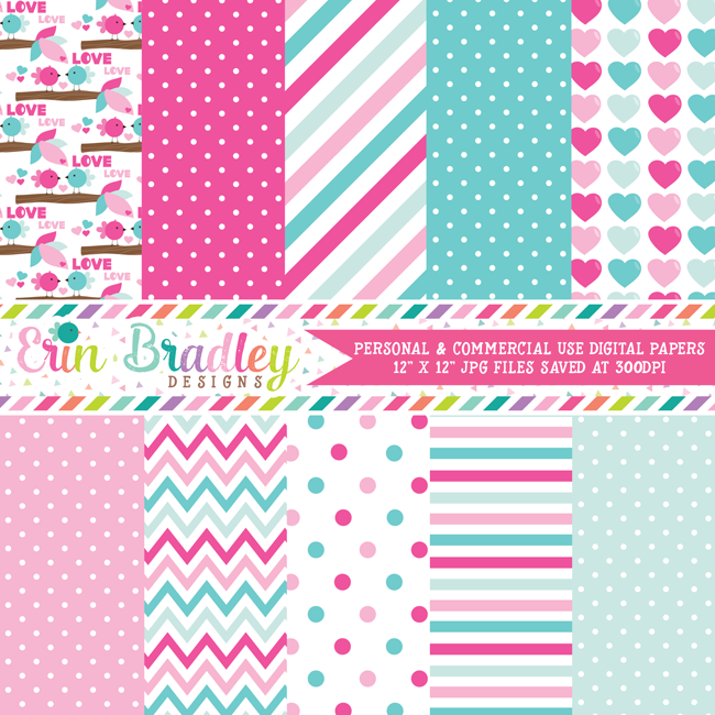 Love Birds Digital Paper Pack