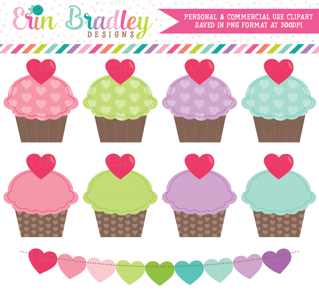 Valentines Day Cupcakes Clipart